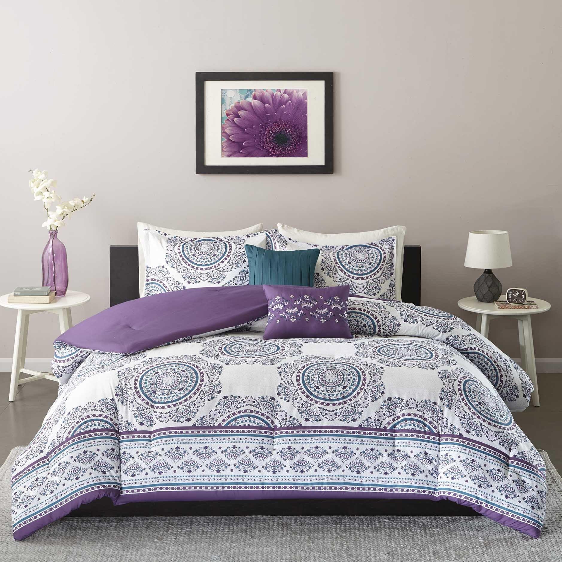 Intelligent Design Mikay Purple 5 piece forter Set Free