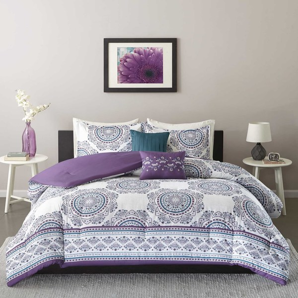 Shop Intelligent Design Mikay Purple 5-piece Comforter Set ...