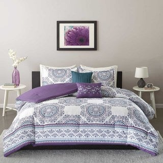 intelligent design mikay purple 5piece comforter set
