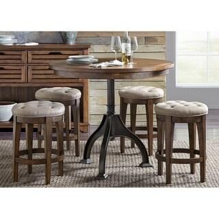 Arlington House Cobblestone Brown Upholstered Backless Barstool