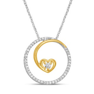 Unending Love Sterling Silver and 10k Yellow Gold 1/5ct TDW Diamond Necklace (I-J, I2-I3)