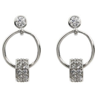 Eternally Haute White Solid Sterling Silver Cubic Zirconia Pave Spinner Hoop Earrings