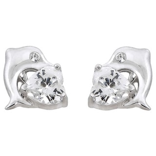 Eternally Haute Solid Sterling Silver Cubic Zirconia Heart Dolphin Stud Earrings