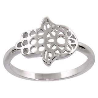 Eternally Haute Solid Sterling Silver Hamsa Ring