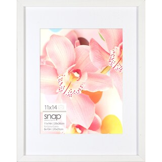 Snap White Wood Matted Frame