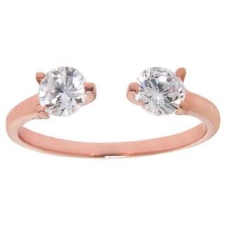 Eternally Haute 14K Rose Goldplated Cubic Zirconia Ring - Pink
