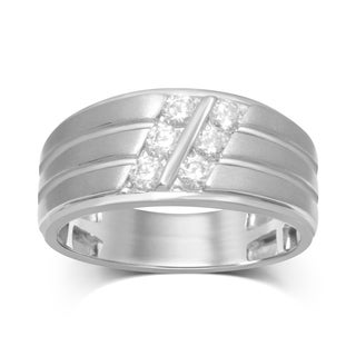 Unending Love 10k White Gold 5/8 CTW 2-row 3-stone Slant Gents Band
