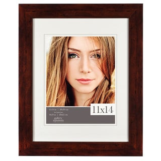 Gallery Solutions Walnut Wood Flat Matted Frame