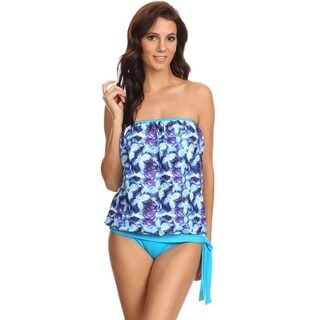 Dippin' Daisy's Blue Periwinkle Bandeau Blouson Tie Tankini (More options available)