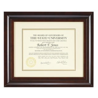 Artcare Hampton Walnut Wood 12-inch x 15-inch Document Frame
