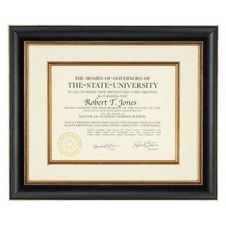 Artcare 12-inch x 15-inch Tuscan Black and Gold Wooden Document Frame