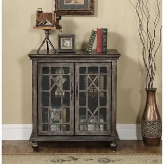 Somette Metallic MDF/Wood/Glass 2-door Cabinet