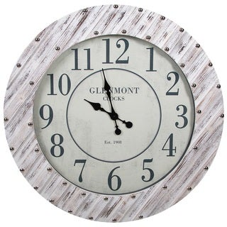 Whitewash Wood 36-inch Round Frame Clock