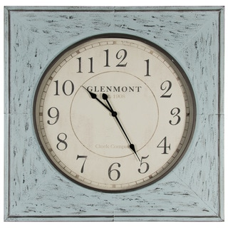 Distressed Blue Metal 36-inch Clock