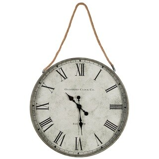 Galvanized Metal 28-inch Clock With Rope