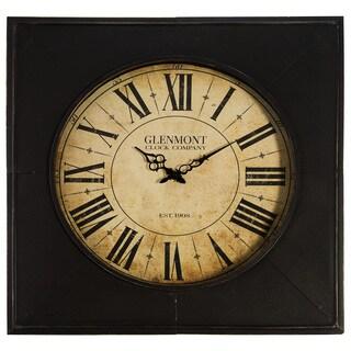Glenmont Distressed Black Metal 24-inch Clock