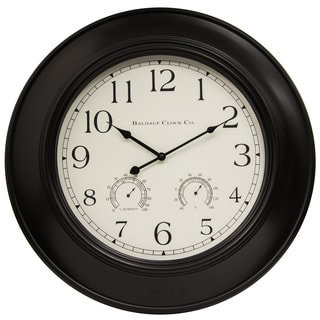 Black Plastic 24-inch Wall Clock with Humidity and Temperature Display