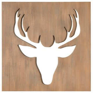 Brown Metal 18-inch x 18-inch Deer Cutout Mirror Box