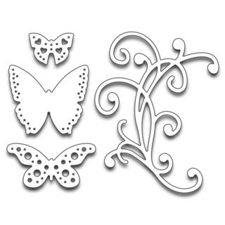 "Penny Black Creative Dies Flourish & Butterflies, 2.5""X3.25"""
