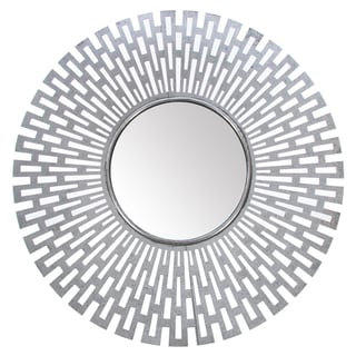Silver-finished Metal 27-inch x 27-inch Geometric Mirror