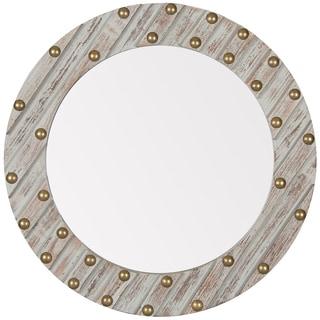 Greywash Wood 24-inch Round Mirror