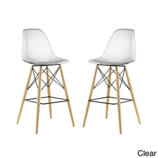 Modway Pyramid ABS Plastic Barstool with Wood Base (Set of 2) (Option: Clear)