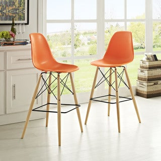 Modway Pyramid ABS Plastic Barstool with Wood Base (Set of 2)
