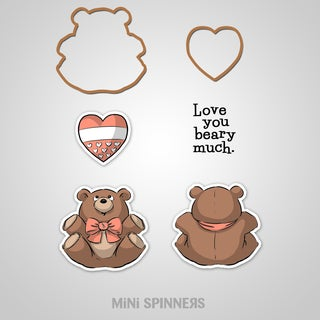 "Art Impressions Mini Spinners Stamp & Die Set 7""X4"" Bear"