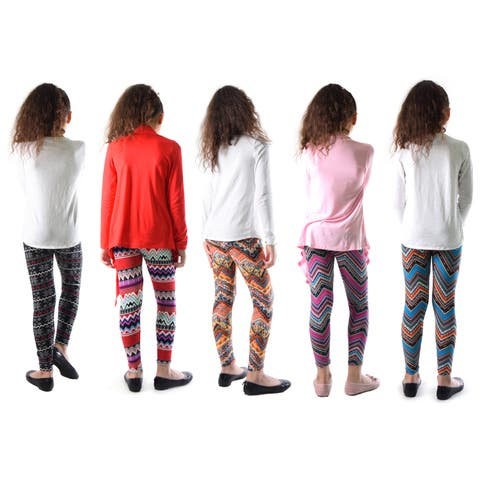Pack of 4 and 5: Dinamit Girl's Multicolor Nylon, Spandex Printed Leggings