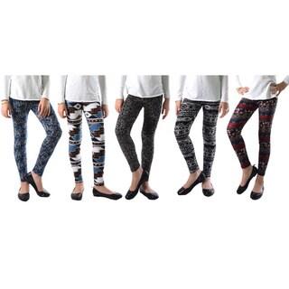 Pack of 5: Girl's Multicolor Printed Leggings
