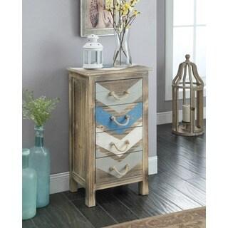 Somette Chevron White/Blue/Grey Wood 4-drawer Chest
