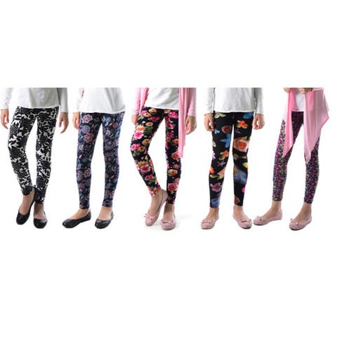 Pack of 5: Dinamit Girls' Trendy Floral Mix Multicolored Nylon/Spandex Leggings