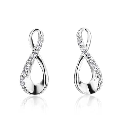 SummerRose 14k White Gold Diamond Accent Infinity Earrings