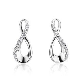 Andrew Charles 14k White Gold Diamond Accent Infinity Earrings (H-I, SI2-I1)