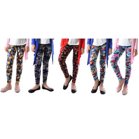 Pack of 5: Dinamit Girl's Multicolor Nylon, Spandex Printed Leggings