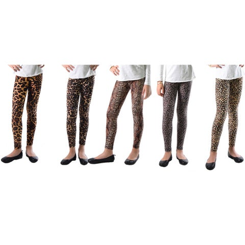 Pack of 5: Dinamit Girls' Multicolor Nylon/Spandex Animal Printed Leggings