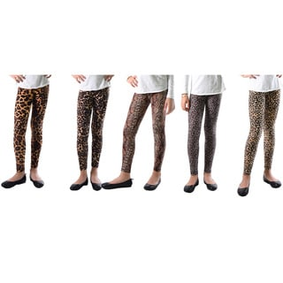 Pack of 5: Dinamit Girls' Multicolor Nylon/Spandex Animal Printed Leggings