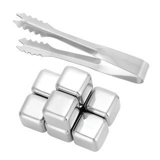 Oggi Stainless Steel Reusable Ice Cube Chilling Stones Including Ice Tong for Whiskey and Beverages - Set of 8