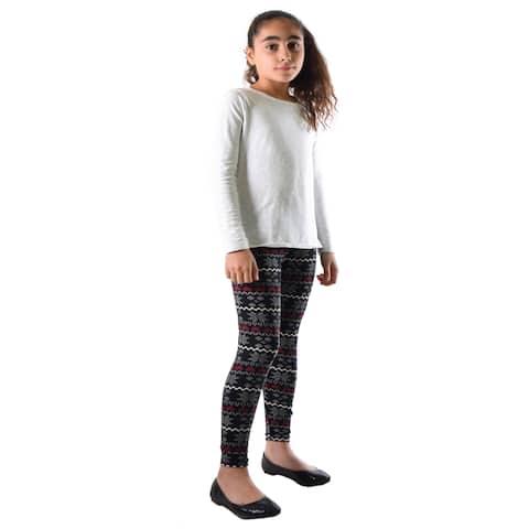 Dinamit Girls Multicolor Nylon/Spandex Winter Holiday Spirit Printed Legging