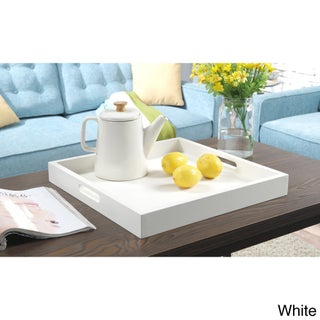 Silver Orchid Blythe Contemporary Wood Two-handle Tray