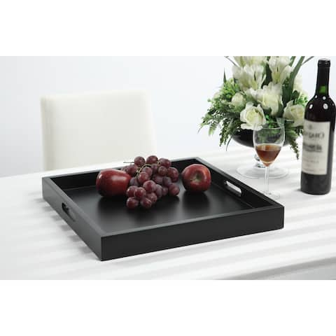Porch & Den Pleasant Contemporary Wood Two-handle Tray