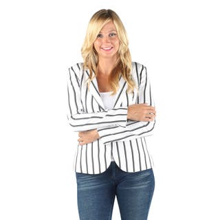 Hadari Womens Fashionable Business Long sleeve black and white stripes button blazer wtih front pockets|https://ak1.ostkcdn.com/images/products/12147474/P19002205.jpg?impolicy=medium
