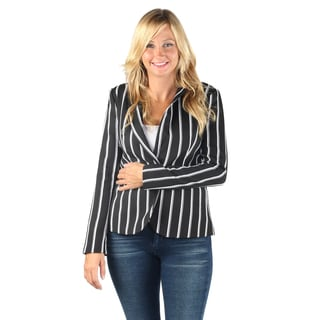 Hadari Womens Fashionable Business Long sleeve black and white stripes button blazer wtih front pockets