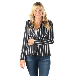 Hadari Womens Fashionable Business Long sleeve black and white stripes button blazer wtih front pockets|https://ak1.ostkcdn.com/images/products/12147477/P19002323.jpg?impolicy=medium