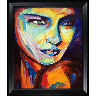 Helena Wierzbicki 'Contemplative' Hand Painted Framed Canvas Art