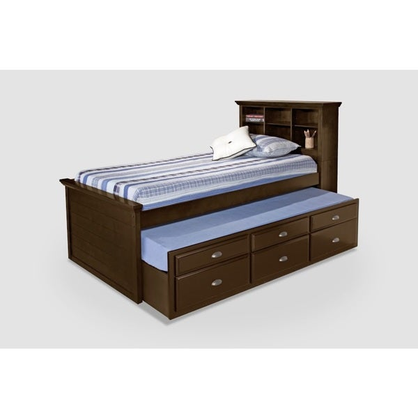 Cherry Bookcase Twin Size Captains Bed with Trundle and Storage Drawers.