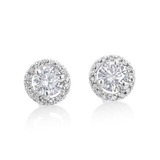 Andrew Charles 14k White Gold 3/4ct TDW Diamond Halo Stud Earrings