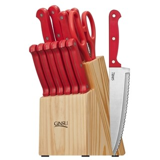 Ginsu Essential Series Stainless Steel Serrated Knife Set  Cutlery Set with Red Kitchen Knives in a Natural Block, 05163DS