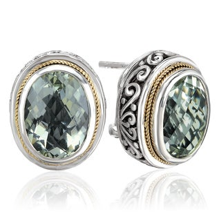 Avanti Sterling Silver and 18k Yellow Gold Green Amethyst Oval Shape Earrings