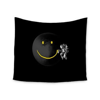 KESS InHouse Digital Carbine 'Make A Smile' Black Yellow 51x60-inch Tapestry